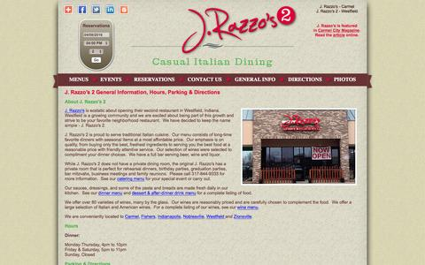 Screenshot of About Page Hours Page jrazzos2.com - J. Razzo′s 2 Italian Restaurant | Westfield, Indiana | About, Hours, Parking & Directions - captured April 9, 2016