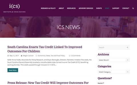 Screenshot of Press Page instituteforchildsuccess.org - ICS News - Institute for Child Success - captured June 7, 2017