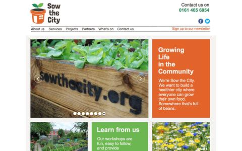 Screenshot of Home Page sowthecity.org - Sow the City - captured Aug. 15, 2016