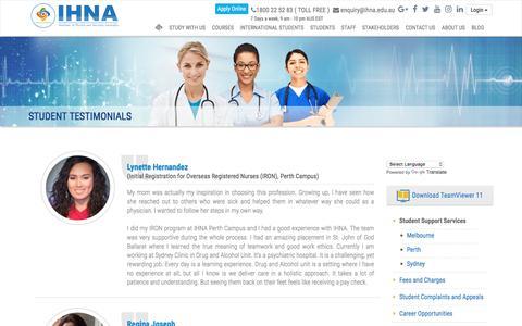 Screenshot of Testimonials Page ihna.edu.au - Student Testimonials| IHNA - captured July 6, 2017
