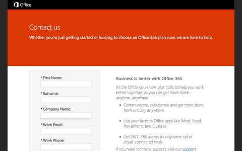 Screenshot of Landing Page office.com - Contact Office 365 - captured May 2, 2016