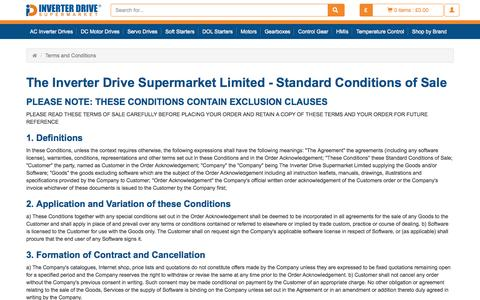 Screenshot of Terms Page inverterdrive.com - Inverter Drive Supermarket | Terms and Conditions of Sale - captured Sept. 10, 2016