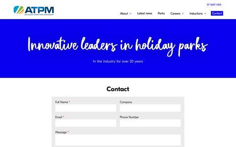 Screenshot of Contact Page atpm.com.au - Contact   Australian Tourist Park Management - captured Oct. 4, 2018