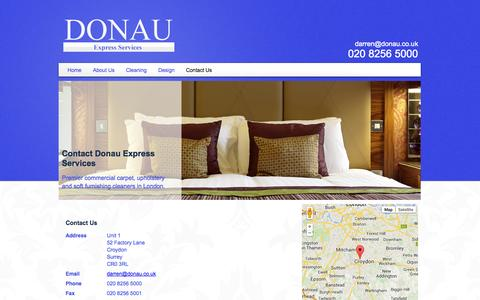 Screenshot of Contact Page donau.co.uk - Contact Hotel Upholstery Cleaners In Croydon, London - captured Oct. 5, 2014