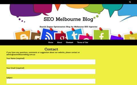 Screenshot of Contact Page seomelbourneblog.com.au - Contact - captured Nov. 19, 2018