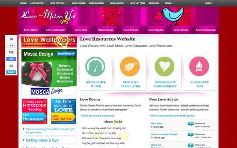 Screenshot of Home Page love-meter.net - Love Meter   Love Calculator   Love Poems   Short Love Quotes   Love SMS   Love Horoscope - captured Sept. 23, 2014