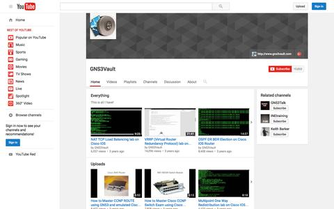Screenshot of YouTube Page youtube.com - GNS3Vault  - YouTube - captured Nov. 23, 2015