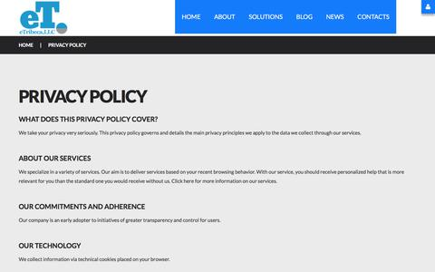 Screenshot of Privacy Page etribeca.com - Privacy policy - captured July 13, 2018