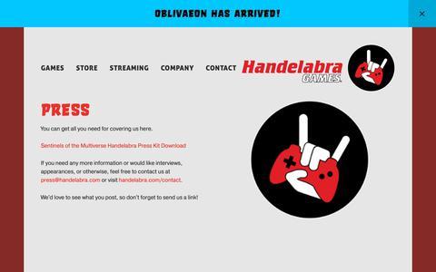 Screenshot of Press Page handelabra.com - Press — Handelabra Games - captured March 21, 2019