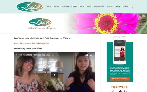 Screenshot of Press Page loiskramerperez.com - My Interviews - Lois Kramer Perez - captured Sept. 29, 2018