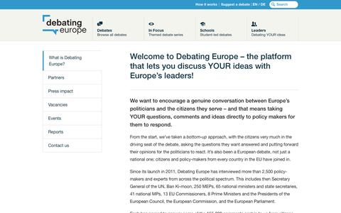 Screenshot of About Page debatingeurope.eu - Welcome to Debating Europe – the platform that lets you discuss YOUR ideas with Europe's leaders! - Debating Europe - captured Aug. 6, 2018