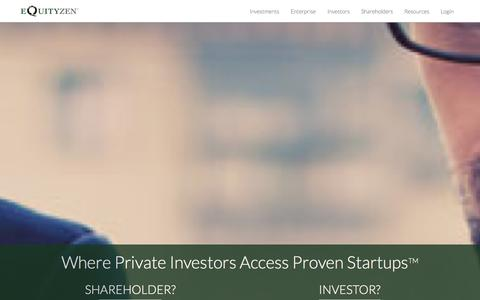 Screenshot of Home Page equityzen.com - EquityZen | Where Private Investors Access Proven Startups - captured Oct. 10, 2014