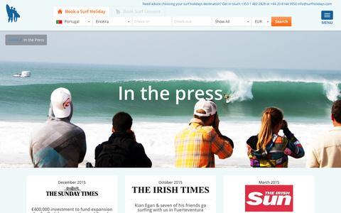 Screenshot of Press Page surfholidays.com - Surfholidays.com - In the media - captured Jan. 20, 2016