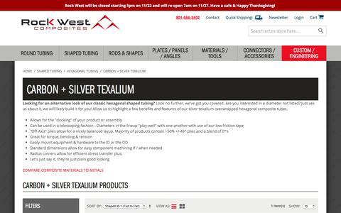 Screenshot of rockwestcomposites.com - Carbon + Silver Texalium Hexagonal Tubing - captured Nov. 23, 2017