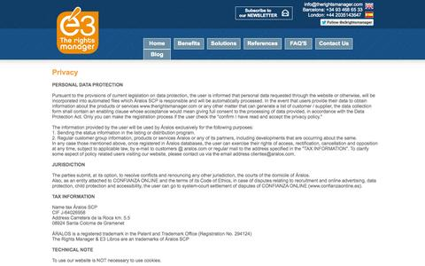Screenshot of Privacy Page therightsmanager.com - Literary Agency Software - The easy way to manage your literary agency - Privacy - captured Oct. 9, 2014
