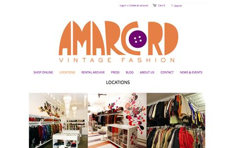 Screenshot of Locations Page amarcordvintagefashion.com - Locations - from Amarcord Vintage Fashion - captured Dec. 25, 2015