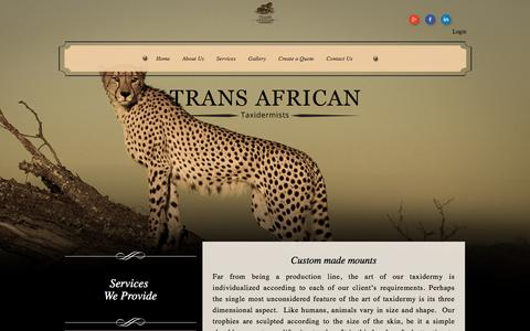 Screenshot of Services Page transafrican.com - Trans African Taxidermists - captured Jan. 12, 2016
