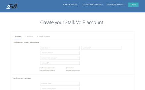 Screenshot of Signup Page 2talk.com - Signup – 2Talk - captured Nov. 7, 2018