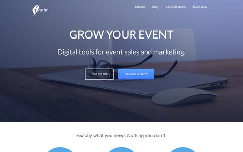 Screenshot of Home Page feathr.co - Feathr - Event Marketing Cloud - captured Sept. 20, 2015