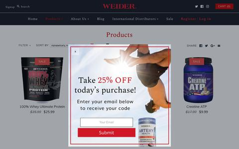 Screenshot of Products Page weider.com - Products – Weider Global Nutrition - captured Sept. 23, 2018