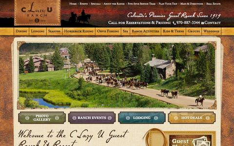 Screenshot of Home Page clazyu.com - Dude Ranch Vacation | Colorado Family Vacations in the Rocky Mountains | C Lazy U Ranch - captured Oct. 5, 2014