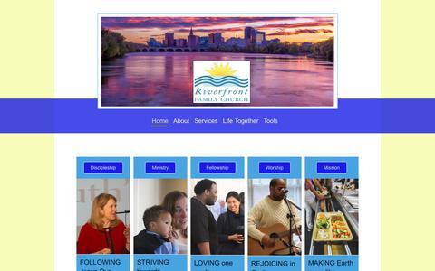 Screenshot of Home Page riverfrontfamilychurch.com - Riverfront Family Church - Home - captured Nov. 4, 2018