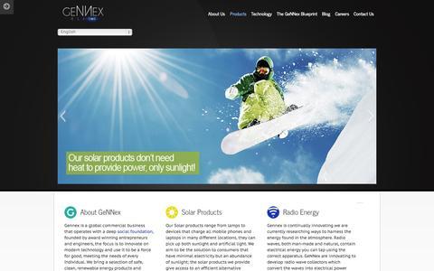 Screenshot of Home Page Products Page gennex.info - Gennex - captured Oct. 2, 2014