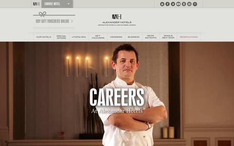 Screenshot of Jobs Page alexanderhotels.co.uk - Careers & Jobs Luxury Hotel Group | Alexander Hotels - captured Sept. 22, 2014