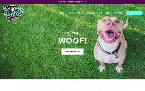 Screenshot of Home Page whoadoggy.com - Pet Sitter & Dog Walker | Atlanta & Decatur | Whoa Doggy! - captured Feb. 17, 2016