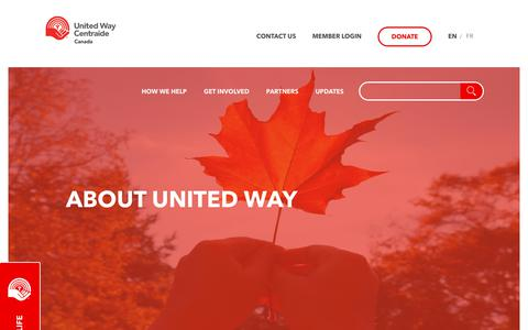 Screenshot of About Page unitedway.ca - About Us – United Way Centraide Canada - captured July 6, 2017