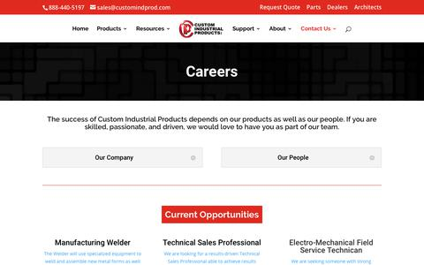 Screenshot of Jobs Page customindprod.com - Careers | Custom Industrial Products - captured June 26, 2018