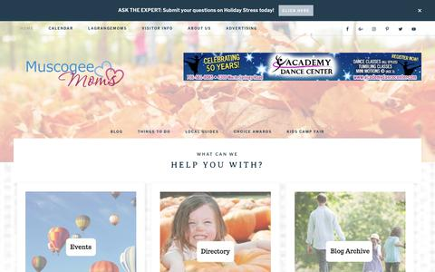 Screenshot of Home Page muscogeemoms.com - Muscogee Moms | Local Events, Parenting Tips & Resources for the Chattahoochee Valley - Your Guide to Family Fun - captured Nov. 8, 2018