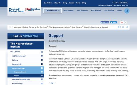 Screenshot of Support Page barnabashealth.org - Support | Geriatric Neurology | The Neuroscience Institute | Monmouth Medical Center | Barnabas Health - captured Jan. 7, 2017