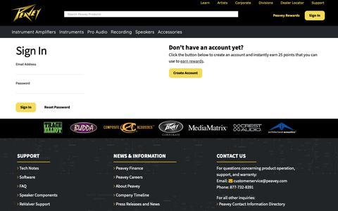 Screenshot of Login Page peavey.com - Peavey.com - captured Sept. 27, 2018