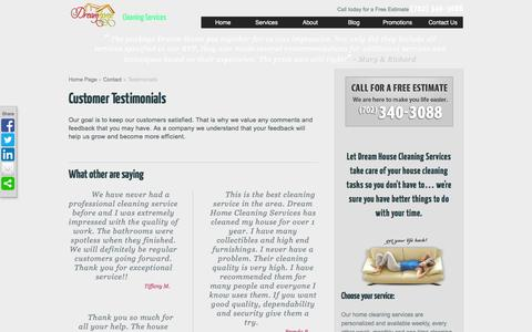 Screenshot of Testimonials Page dreamhousecleaning.com - Testimonials - House Cleaning, Maids & Housekeeping from Dream House Cleaning Services - captured Feb. 9, 2016