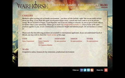 Screenshot of Jobs Page warhorsestudios.cz - Warhorse studios: CAREERS - captured Oct. 31, 2014