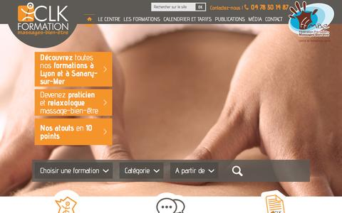 Screenshot of Menu Page clk-massage-formation.com - Accueil - captured April 24, 2016