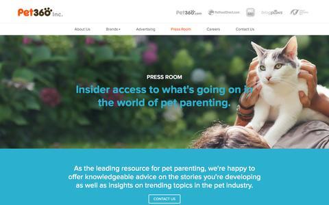 Screenshot of Press Page pet360inc.com - Press Room - Pet360 Inc - captured March 1, 2016
