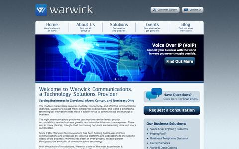 Screenshot of Home Page warwickinc.com - VoIP, Business Telephone Systems, & Networks | Warwick Communications, Inc. | Cleveland, Ohio - captured Oct. 1, 2014