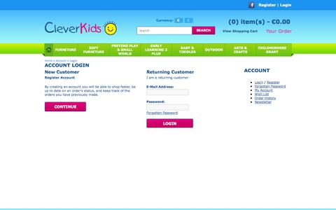 Screenshot of Login Page cleverkids.ie - Account Login - captured Sept. 29, 2014