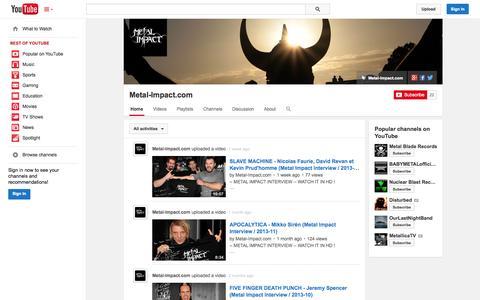 Screenshot of YouTube Page youtube.com - Metal-Impact.com  - YouTube - captured Nov. 3, 2014