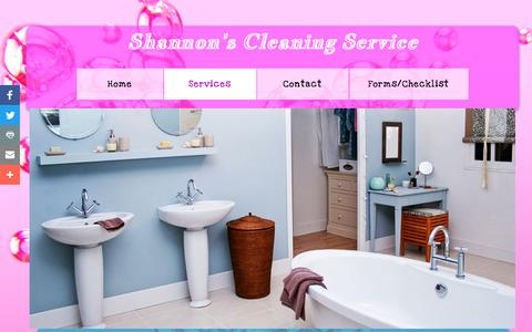 Screenshot of Services Page shannonscleaningservice.com - Services - captured Nov. 18, 2016