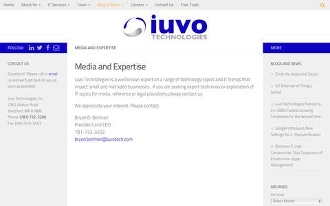Screenshot of iuvotech.com - Media and Expertise - iuvo Technologies - captured Dec. 30, 2016