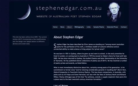 Screenshot of About Page stephenedgar.com.au - About Stephen Edgar • Stephen Edgar, Australian Poet - captured Feb. 26, 2018