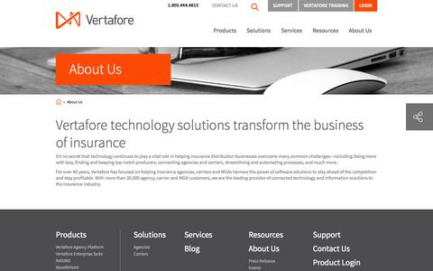 Screenshot of About Page vertafore.com - Vertafore technology solutions transform the business of insurance | Vertafore - captured Sept. 19, 2014