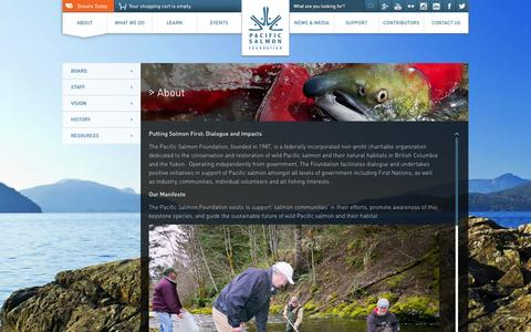 Screenshot of About Page psf.ca - About | Pacific Salmon Foundation - captured Nov. 1, 2014