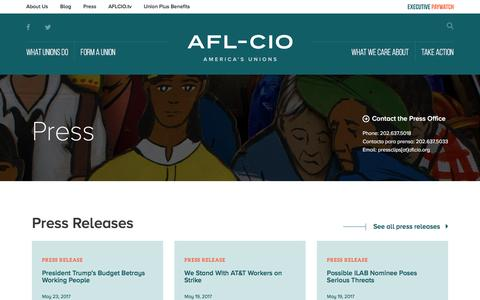 Screenshot of Press Page aflcio.org - Press | AFL-CIO - captured May 28, 2017