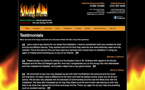 Screenshot of Testimonials Page livingfires.co.uk - Living Fires - Fires, Fireplaces and Stoves in Dunfermline, Fife and Scotland - captured March 8, 2016
