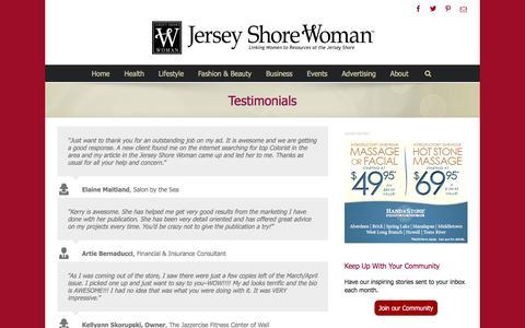 Screenshot of Testimonials Page jswoman.com - Testimonials - Jersey Shore Woman - captured Feb. 11, 2016
