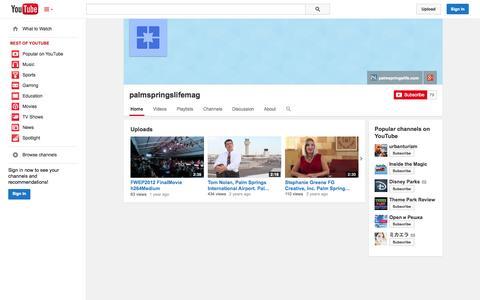 Screenshot of YouTube Page youtube.com - palmspringslifemag  - YouTube - captured Oct. 22, 2014